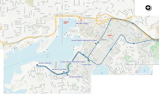 X80 express bus map from the Athens Urban Transport Organisation website