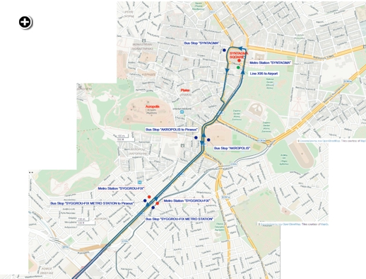 Map of bus stops in Central Athens for the new X80 express route