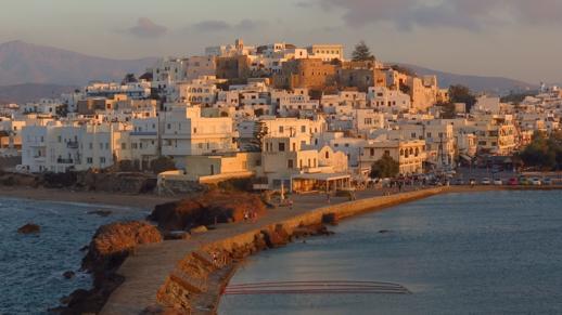 Naxos Town at sunset