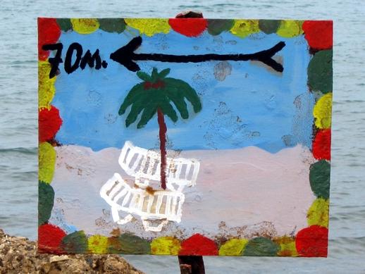 a beach sign on Kos