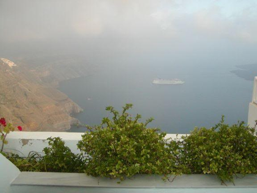 Santorini caldera clouds