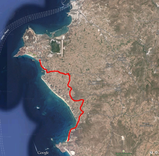 our cycling route on Naxos