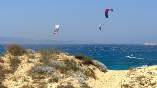 kitesurfers at Mikri Vigla
