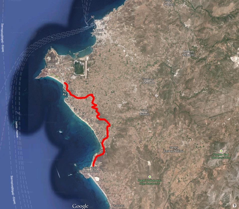route from Agios Prokopios to Mikri Vigla
