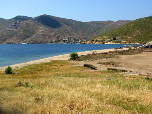 Petra beach and bay near Grikos on Patmos island
