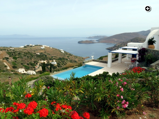 An infinity pool with an amazing view of the Kini Bay region of Syros island