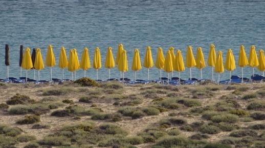 umbrellas on Agios Prokopios beach
