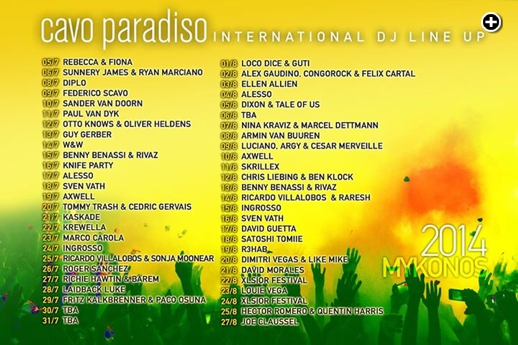 Cavo Paradiso Mykonos international DJ lineup for summer 2014