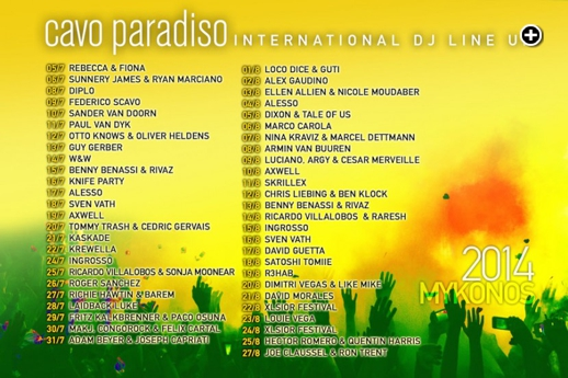 Cavo Paradiso Mykonos summer 2014 DJ lineup (as of July 27 2014)