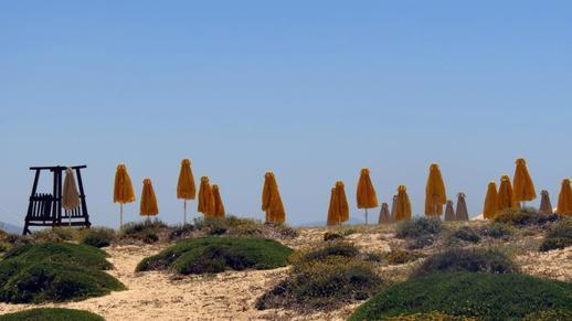 sunbeds at Agios Prokopios beach