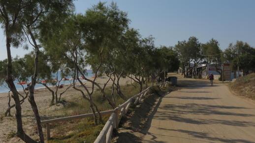road along Plaka beach