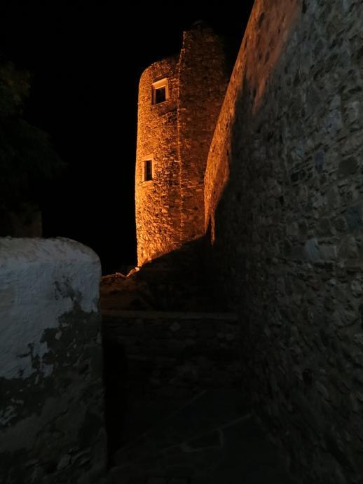 Naxos Castle at night