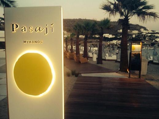 Pasaji restaurant at Ornos beach Mykonos