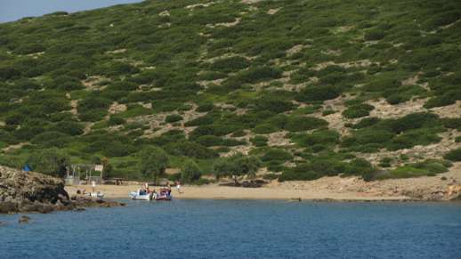 a secluded beach on Syros
