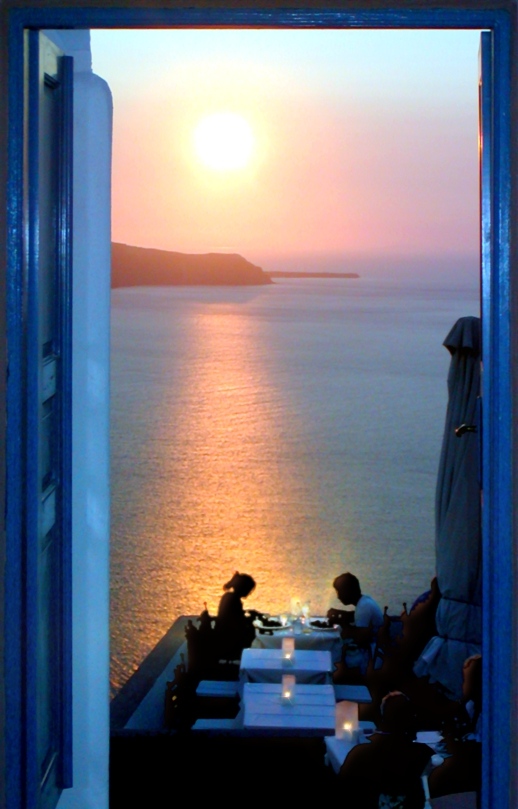 Santorini sunset dining