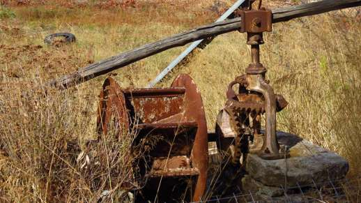 old farm equipment in Chalki