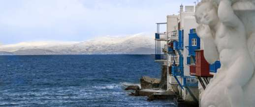 Achim Eckhardt photo showing a view of Tinos from Little Venice on Mykonos