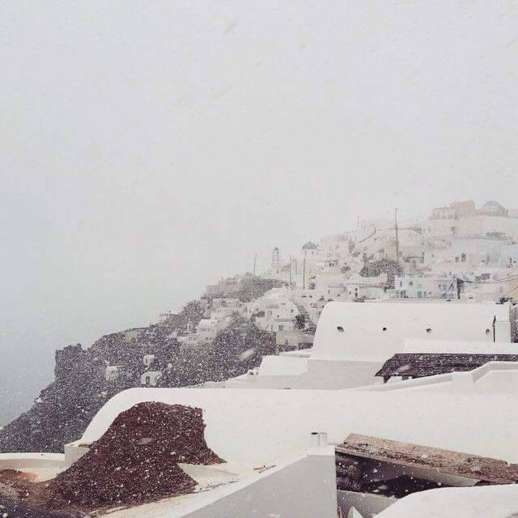 snow on Santorini