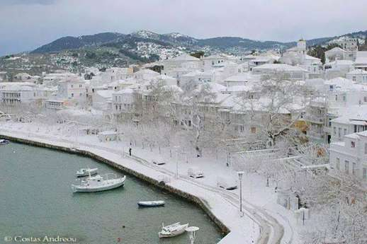 Skopelos Greece after snowfall