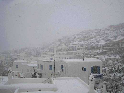 Snowfall on Mykonos