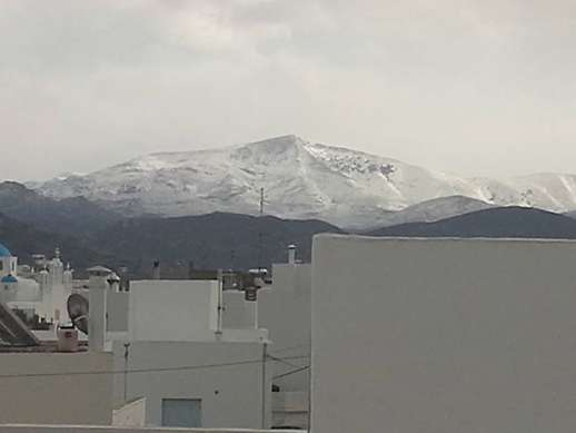 Snow on Mount Zas Naxos