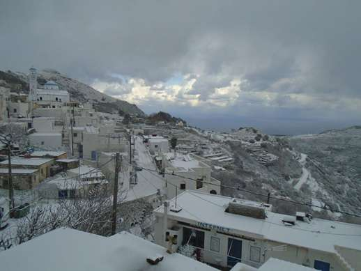 snow on a Naxos mountain village