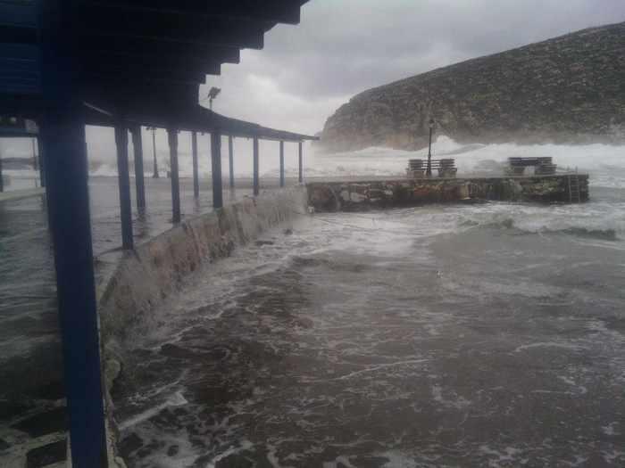Sea surging at Apollonas village Naxos