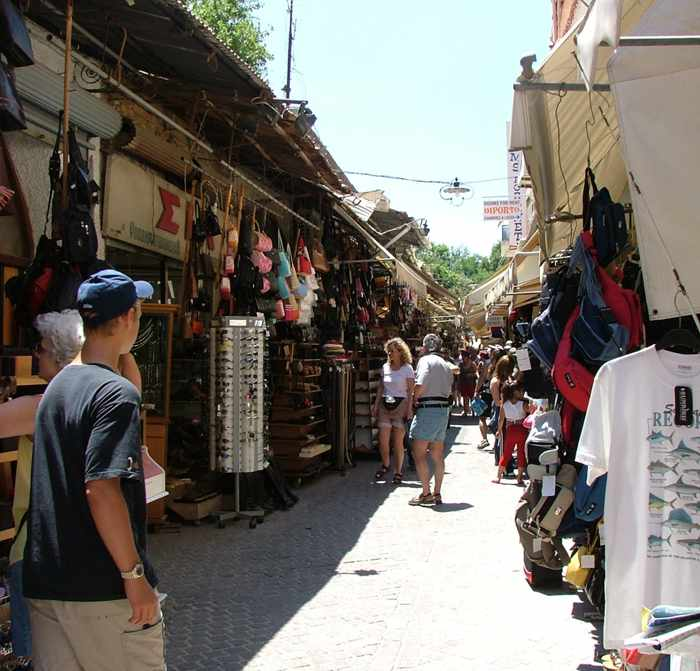 a shop lined lane in Chania