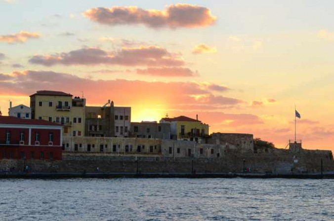 Chania harbour at sunset