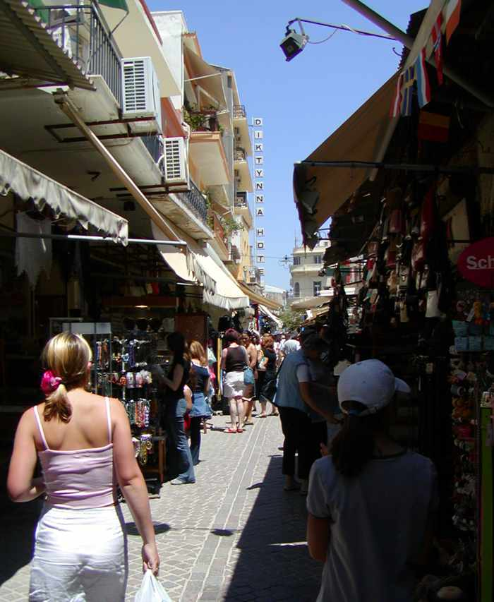 a shopping area in Chania