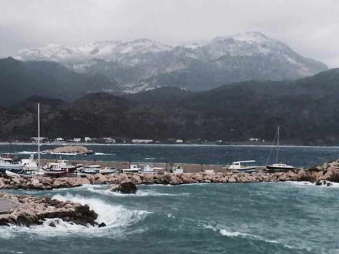 snow on Karpathos