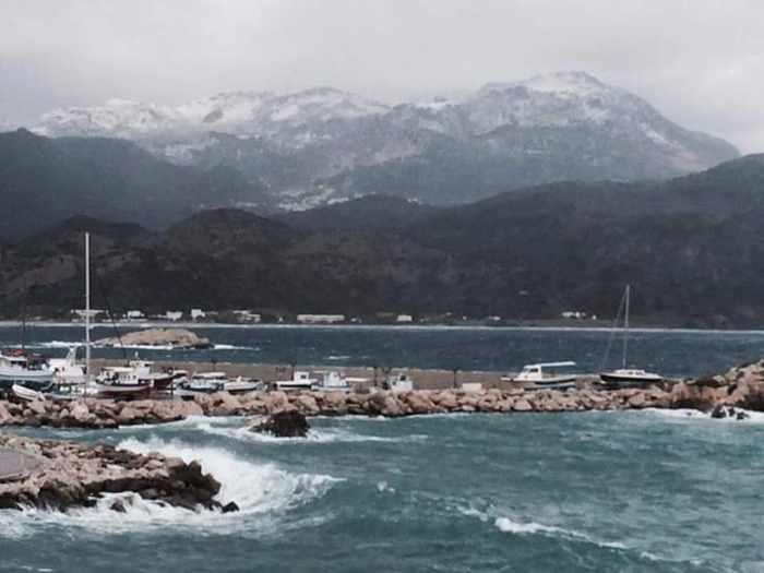 snow on Karpathos