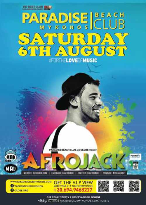 Afrojack at Paradise beach club Mykonos
