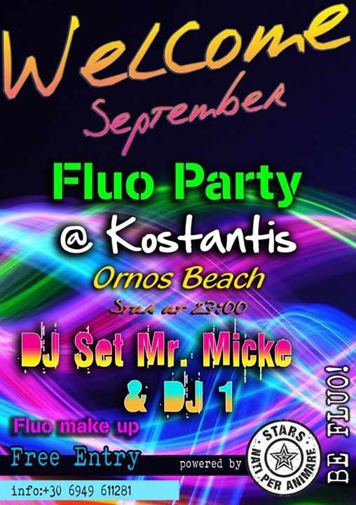 August 31 2015 Fluo Party at Kostantis Ornos beach Mykonos