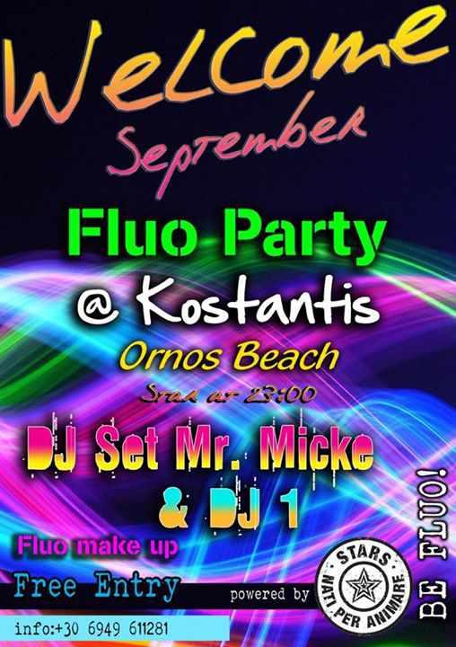 August 31 2015 Fluo Party at Kostantis Ornos beach Mykonos