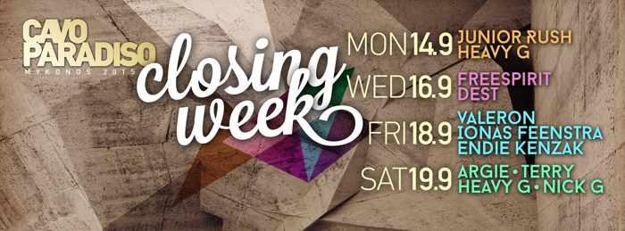 Cavo Paradiso Mykonos Closing Week Lineup September 2015