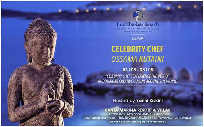 Celebrity Chef Ossama Kutaini at Buddha-Bar Beach Mykonos