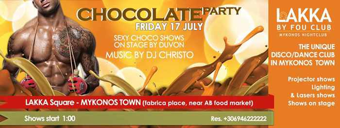 Chocolate party at Lakka by Fou Club Mykonos
