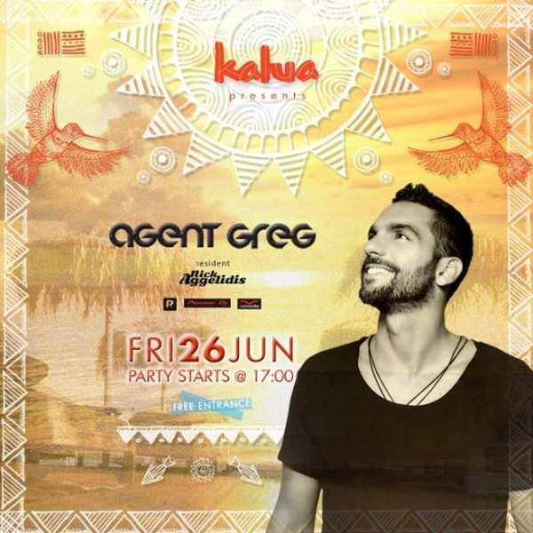 DJ Agent Greg appearing at Kalua bar Mykonos June 26 2015