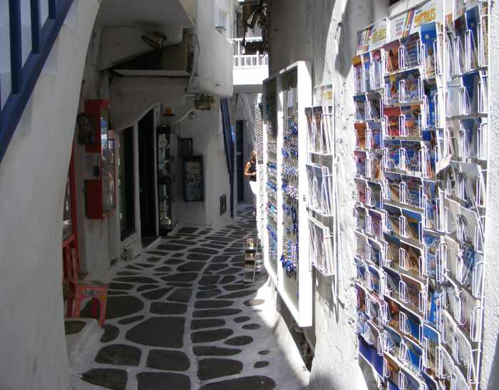 postcard racks in Mykonos Town