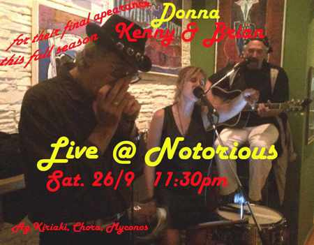 Donna, Kenny & Brian final live show at Notorious Bar