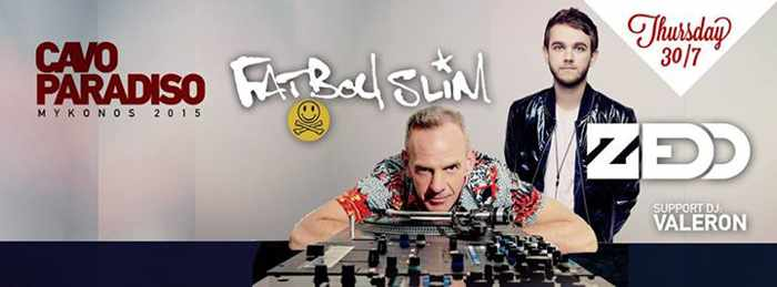 Fat Boy Slim appearing with Zedd at Cavo Paradiso