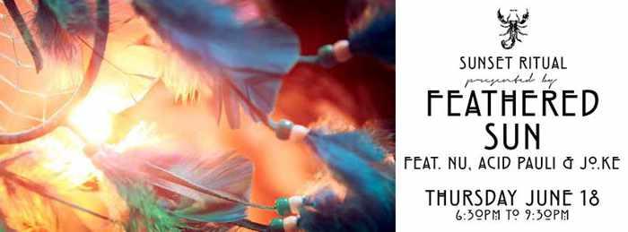 Feathered Sun Sunset Ritual party at Scorpios Beach Club Mykonos June 18 2015