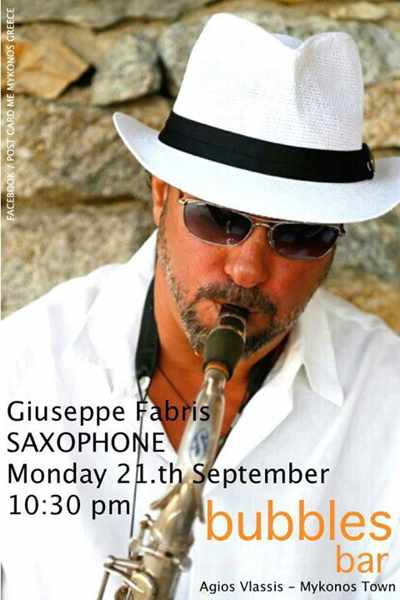Giuseppe Fabris live saxophone at Bubbles Gallery Champagne & Cocktail Bar Mykonos