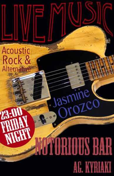 Jasmine Orozco live acoustic rock at Notorious Bar Mykonos