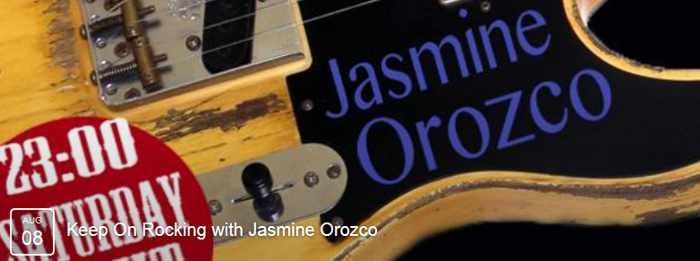 Jasmine Orozco performing live acoustic rock at Notorious Bar Mykonos
