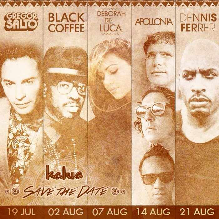 Kalua bar Mykonos party lineup for July and August 2015