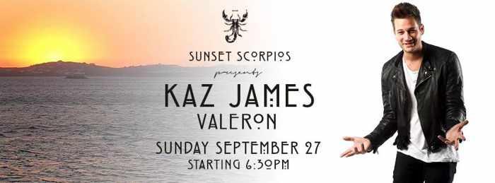 Kaz James with Valeron at Scorpios beach club Mykonos