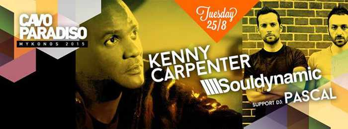 Kenny Carpenter with Souldynamic and Pascal at Paradise beach club Mykonos