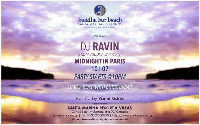 Midnight in Paris party July 10 2015 at Buddha-Bar Beach Mykonos